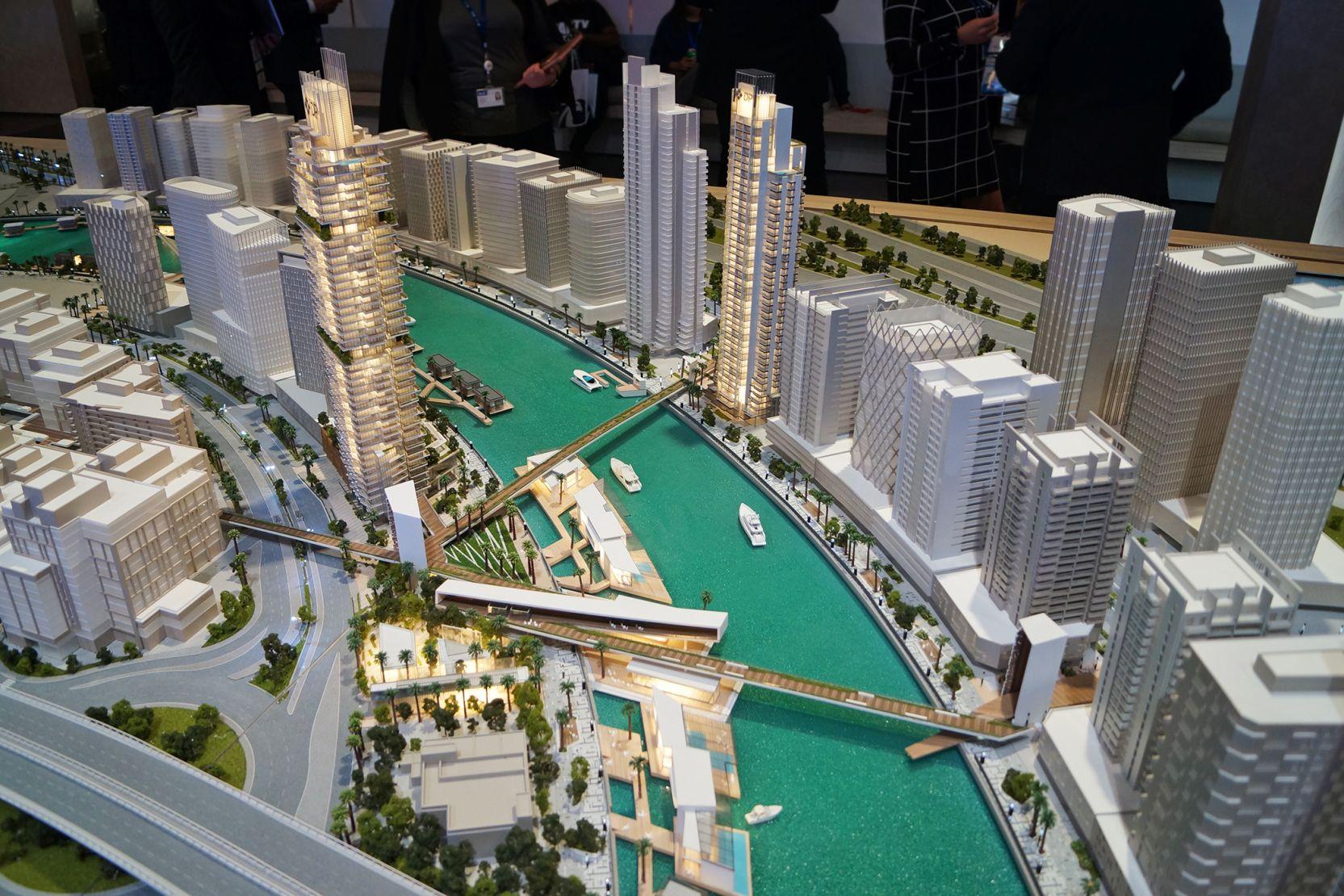 Business Bay, Dubai, developer's masterplan model