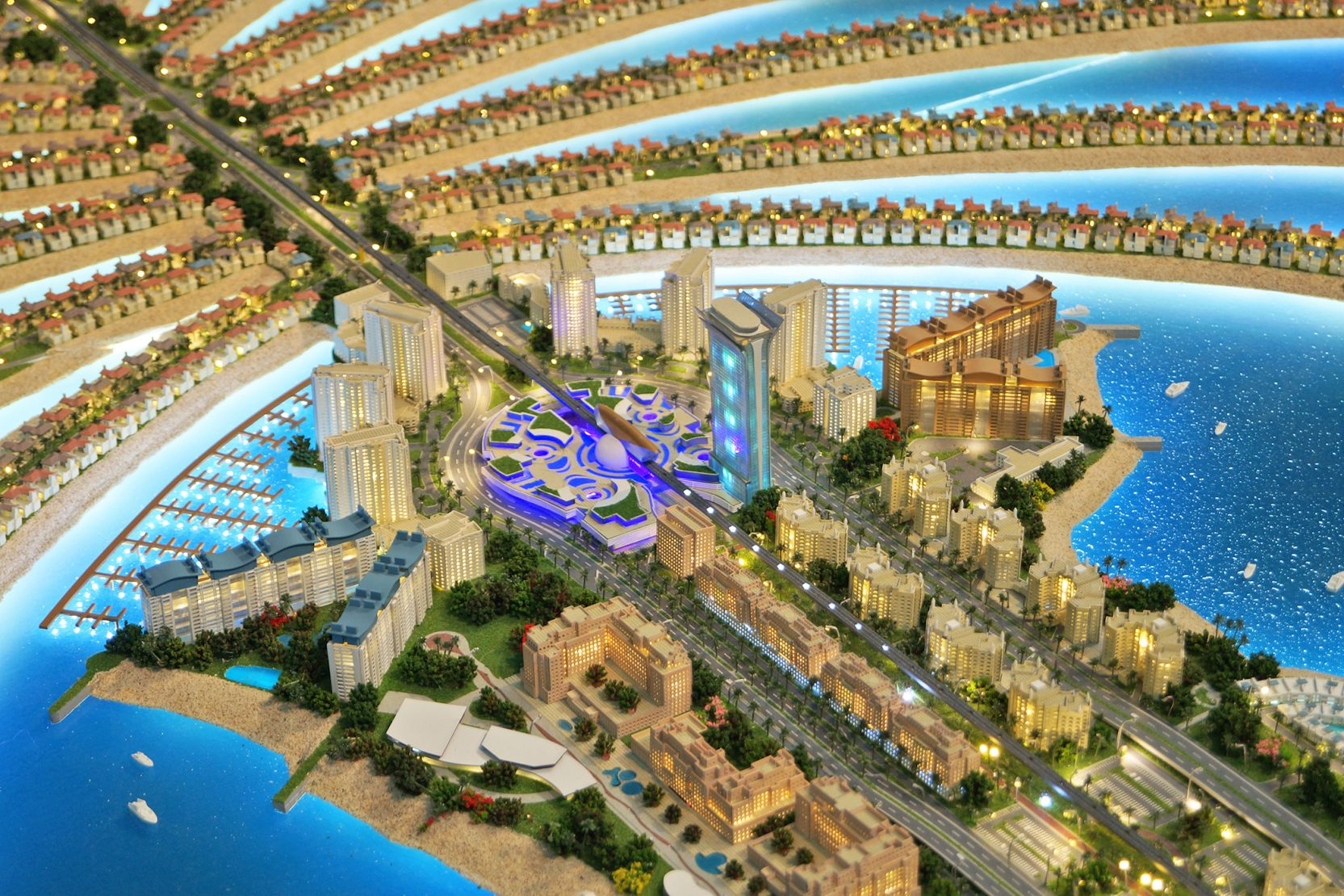 Palm Jumeirah trunck, Dubai, developer's masterplan model